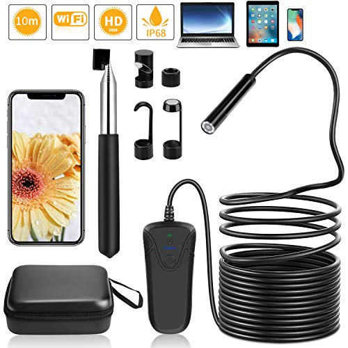 PEYOU Endoscope WiFi 32,8ft/10M,Semi-Rigide 2,0 mégapixels HD 1080P Caméra Endoscopique,8 LED 8mm...