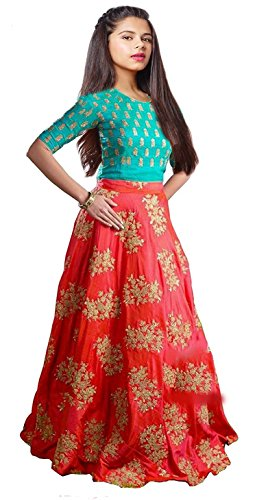J.AnanD Girls Party Wear Orange and Firozi Turquoise Tapeta Silk and American...