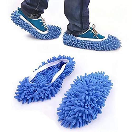 nale Staub Duster Mop Hausschuhe Schuhe Abdeckung Weiche Waschbar Wiederverwendbare Mikrofaser Fuß Socken Bodenreinigung Werkzeuge Schuh  blau Home dekor ()