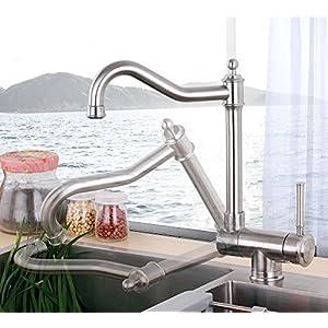 GFEI Cocina de acero inoxidable 304, agua fria y caliente agujero grifo giratorio plegable plegable única ventana, anti – stall fregadero, plato de Cuenca, bajo llave