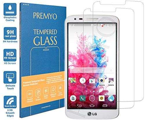 PREMYO 2 Stück Panzerglas Schutzglas Bildschirmschutzfolie Folie kompatibel für LG G3 Blasenfrei HD-Klar 9H 2,5D Gegen Kratzer Fingerabdrücke