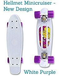 'vinylc ruiser Mini Cruiser skateboard 22 – Penny Style Long Board – Blanco, lila – PREMIUM CALIDAD