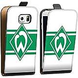 Samsung Galaxy S6 Edge Tasche Hülle Flip Case Werder Bremen Wappen gestreift Fanartikel