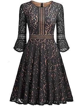 Otoño y el invierno de las mujeres y las niñas elegante nuevo vestido de encaje de hoja de loto de encaje de autocultivo