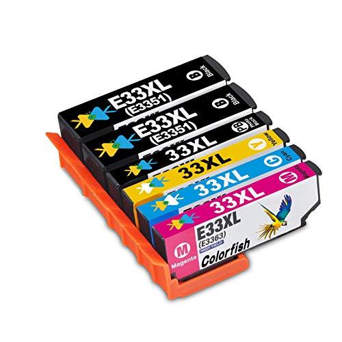 ColorFish Ersatz für Epson 33XL Druckerpatronen Kompatible Epson Expression Premium XP-530 XP-630 XP-635 XP-830 XP-640 XP-900 XP-540 XP-645 (2 Schwarz, 1 Foto Schwarz, 1 Cyan, 1 Magenta, 1 Gelb)