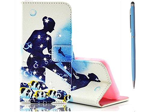 TKSHOP Custodia in PU Pelle Protettiva Diamante / Strass Borsa per Samsung Galaxy A9 Portafoglio (Gps Carta Pocket Pc)