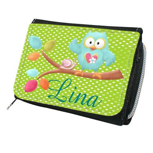 wolga-kreativ Geldbörse mit Namen Eule Mädchen Wunschname Portemonnaie für Kinder - Gratis Namensaufdruck Geldbeutel