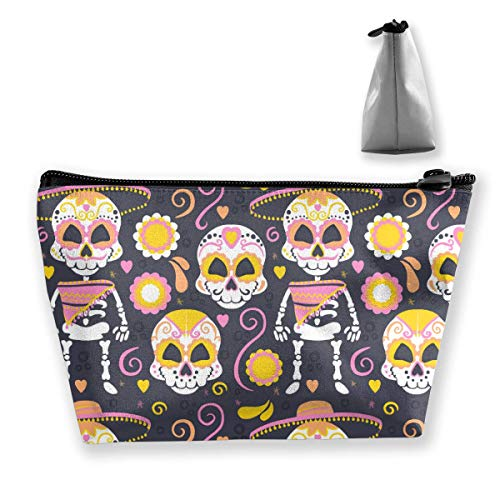 Halloween Skull Makeup Bag Large Trapezoidal Storage Travel Bag Wash Cosmetic Pouch Pencil Holder Zipper