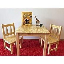 Naturholz Shop Kindersitzgruppe Kindertischgruppe Holz Kiefer Massiv 1Tisch 2 Stuhlen Natur