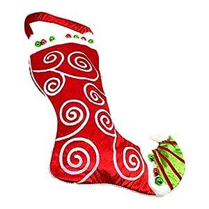Gifts 4 All Occasions Limited SHATCHI-867 - Calcetín navideño de Papá Noel con campanas y lentejuelas, multicolor