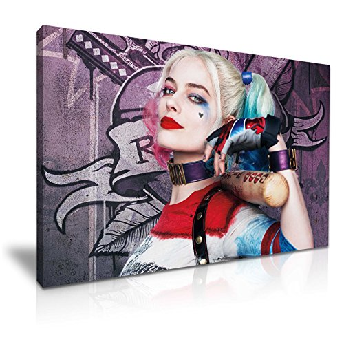 (Suicide Squad Harley Quinn Baseballschläger Leinwand Kunstdruck Bild 76cm x 50cm)