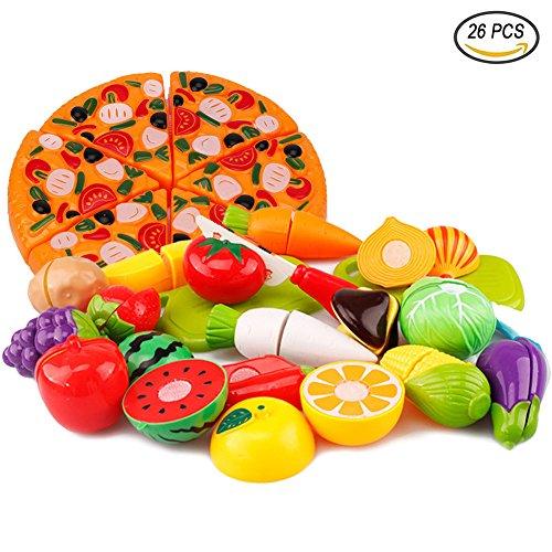 QiGui 26pcs Küchenspielzeug Kinder Plastikfrucht-Gemüse-Obst Pizza Schneiden Spielzeug Küche Cutting Toy Pädagogisch Rollenspiele Spielzeug