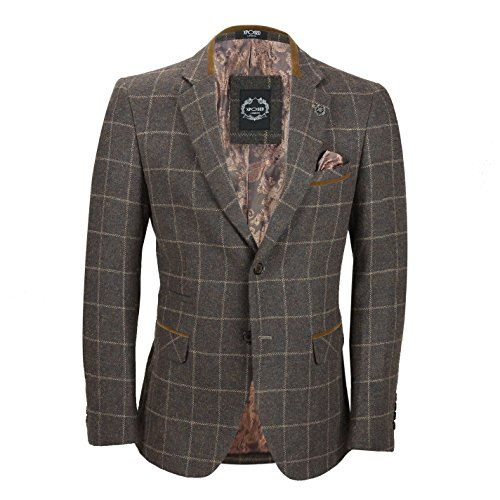 Mens Earth Brown 3 Piece Tweed Check Suit Classic Retro Sold Separately as Blazer Waistcoat Trouser