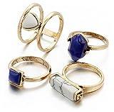 AMDXD 4 Stücks Ringe Set Damen Türkis Weiß Blau Stein Midi Ring Gold Ring Set Vintage