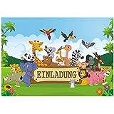 12 lustige Dschungel Safari Einladungskarten zum Kindergeburtstag mit fröhlichen Tieren im Urwald Geburtstagseinladungen Einladungen Geburtstag Kinder Jungen Mädchen Einladungstext Vorlagen Karten Set