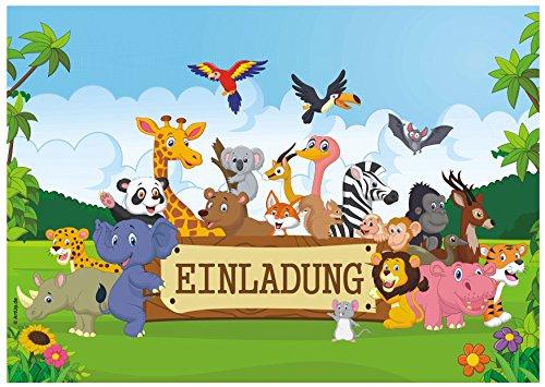 ArtUp.de 12 Einladungskarten zum Kindergeburtstag mit fröhlichen Tieren im Urwald - lustige Dschungel Safari - Geburtstagseinladungen Einladungen Geburtstag Kinder Jungen Mädchen Einladungstext Set (Einladungen Safari-geburtstags-party)