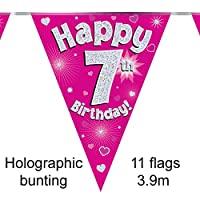 Happy 7th Birthday Pink Holographic Foil Party Bunting 3.9m Long 11 Flags