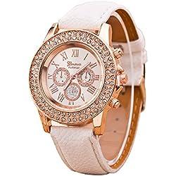 Geneva Platinum Big Size Studded Analog Silver Dial Women's Watch - GP-049