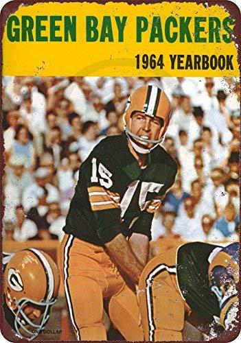 qidushop 1964 Green Bay Packers Yearbook Bart Starr Reproduktion Neuheit Aluminium Metall Blechschild Post Wanddekoration für Herren 20 x 30 cm -