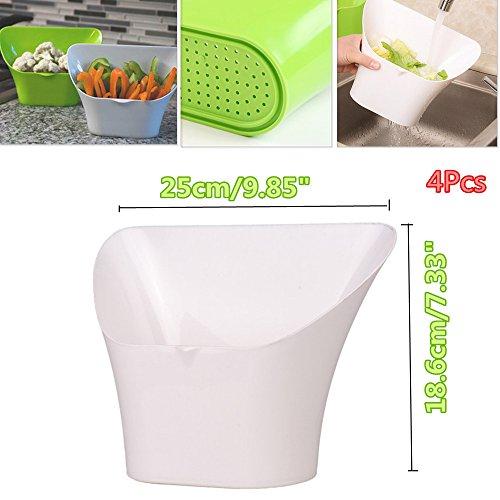 4PCS Évier de cuisine multifonction Échelle de corbeille de déchets Cuisine Poubelle Poubelle Fruits Légumes Salade Paniers de stockage Plastique Blanc