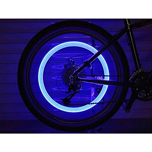 JUYUAN-EU 4 Stk. Blaue LED Blitzlicht Fahrradreifen-Licht Ventilkappen Lampe Radventil Beleuchtung fÜr Auto Fahrrad MotorRad Blau - 4