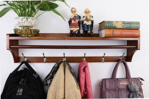 Perchero de pared ,Pared Perchero,Percha de madera maciza ,moderna multifuncional 6 ganchos estante de pared soporte de exhibición perchas Dormitorio & el Baño & la Decoración del Hogar (79.5CM)