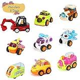 BBLIKE Fahrzeuge Spielzeug Set, Kunststoff spielzeugauto Mini Cartoon 6 stücke, Auto Liebhaber 3 4 5 6 Jahre Alt (Zug, Flugzeug, Hubschrauber, Auto, Bus, Bagger)