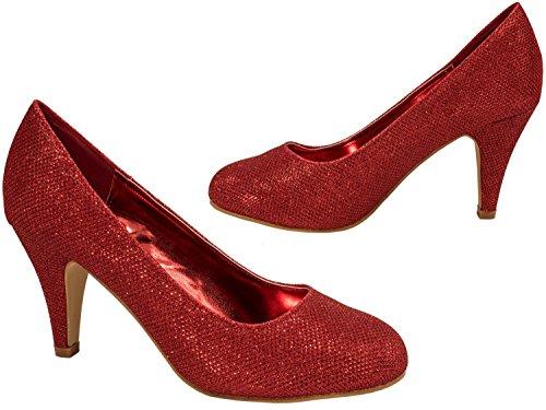 Elara Damen Pumps | Bequeme High Heels Glitzer | Hochzeit Stiletto 9373-E22108-Rot-38 - 6