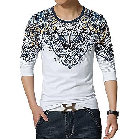 sourcingmap Hombre Cuello Redondo Estampados Florales Manga Larga Camisetas