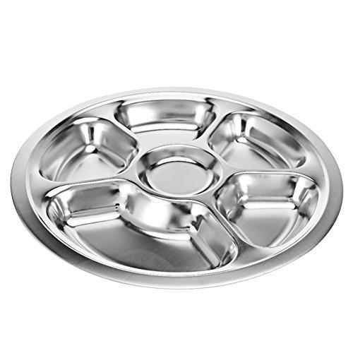 Edelstahl Rund geteilten Speiseteller, BPA-frei Kinder Teller Serviertablett Speisen Servierplatte für Kinder Kleinkinder, edelstahl, silber, 6-sections (Kinder-geteilte Platte)