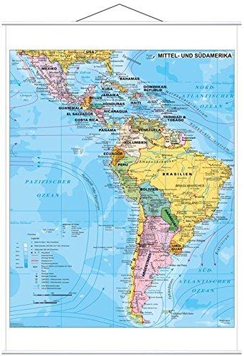 Stiefel EUROCART Länderkarte Mittel- und Südamerika politisch, 97 x 119 cm mit Metallleiste