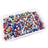 #9: eshoppee 100 gm, 5mm cube shape handmade handicraft glass beads for jewellery making art and craft diy kit (multi color)