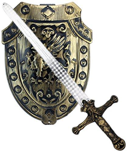 GYD Schwert und Schild Antik Ritter Spielzeugschwert Bronze Kreuzzüge Set 45cm Spiel und Fasching Neu -