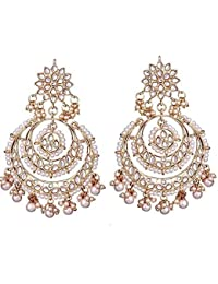 I Jewels Traditional Metal Gold Plated and Pearl Earrings for Women & Girls, White
