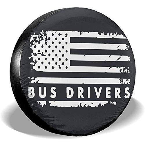 Spare Tire Cover-Copricerchi Ruota di Scorta per Guidatori di Autobus Bandiera USA Coperchi Antipolvere Impermeabili per Tutte Le Auto(14-17 Pollici)