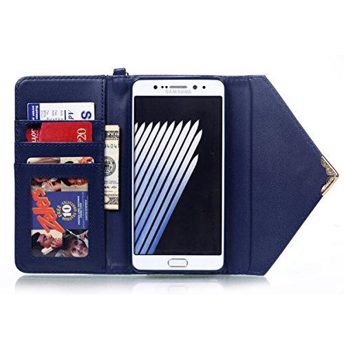 Vanndot Cover für iPhone 5 5s SE Diamant Bling Case mit Standfunktion Card Leder Flip Hülle Schutzhülle für iPhone 5 5s SE Handy Schutz Tasche Schale Bumper + 1X Micro USB Kabel + 1X Anti Staub Stöpse Envelope Tiefblau
