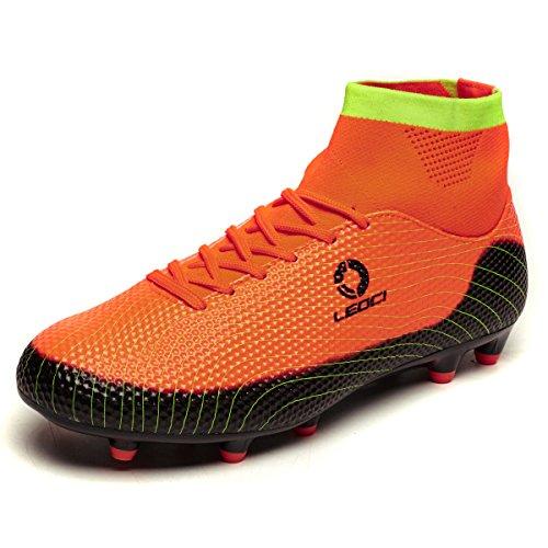 LEOCI Bottes de football pour enfants AG Spike Microfibre Crampons Adolescents Profession Athlétisme Haut Haut Orange