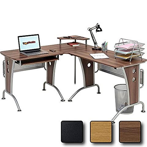 Large Corner Computer and Gaming Desk Table with Keyboard Shelf and CPU Trolley for Home Office in Dark Walnut - Piranha Furniture PC 21w