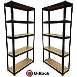 Anaqueles de almacenamiento para garaje, con capacidad de 875kg, 175kg por repisa, conjunto negro5, 2 piezas de 180 x 90 x 30cm