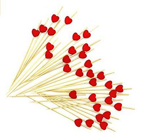 Bambus-stick (Gespout Cocktail Sticks Sandwich Frucht Picker Sticks Zahnstocher aus Holz für den Einsatz in der Bar Café Verschiedene Parteien Hotel und zu Hause(Rote))