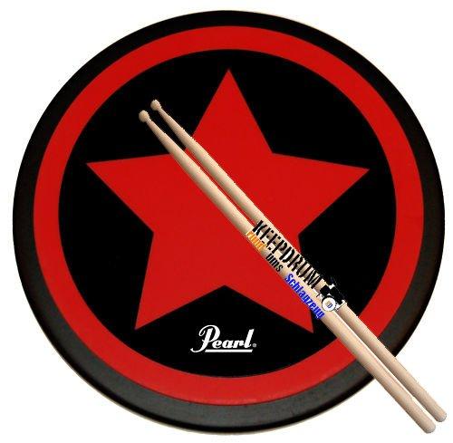 """Pearl PDR-08SP Practice Drum Pad Übungspad 8\"""" + Keepdrum 5A Drumsticks"""