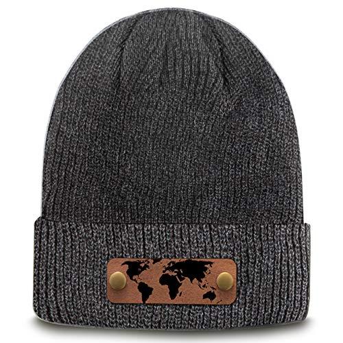 RUBDE Beanie2 | Individuelle Beanie warme Mütze mit Lederpatch, NFC-Sticker und QR-Code personalisierbar | One Size -Herren Damen Kinder