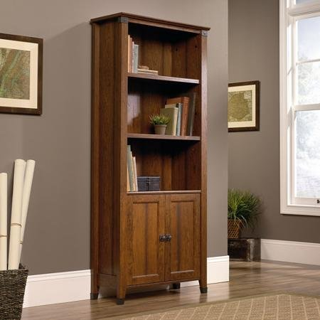 sauder-carson-forge-library-with-doors-washington-cherry-by-supernon
