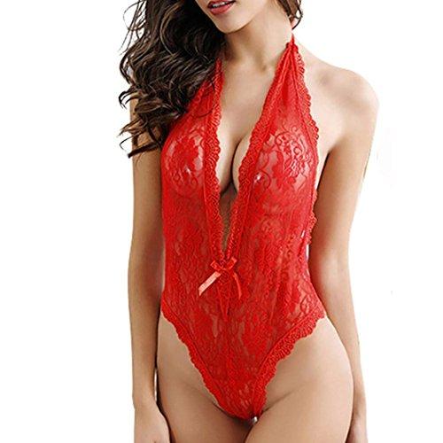 Dessous lingerie Damen,Yanhoo Heiße Mode Unterwäsche Frauen Plus Size Spitze Babydoll Unterwäsche Dessous Kleid Nachtwäsche (Rot, XL) (Bh Chic Shaper)