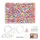 Ulikey DIY Perles pour Enfants, Bricolage Perles Set, Acrylique Coloré Perles 24 Compartiments pour Bracelet Collier Bijoux de Fabrication Loisir Creatif Idéal Cadeau pour Enfants Filles (océan)