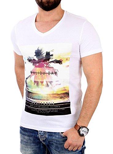 Reslad T-Shirt Herren Malibu Bay Motiv Print Kurzarm Shirt RS-2042 Weiß 2XL - Malibu Bay