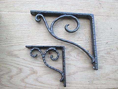 Ironmongery World® Antik Eisen Traditionelles Viktorianisches Gusseisen Book Regal Wandhalterung Unterstützung, LARGE TEXTURED - Cerniera Vittoriana