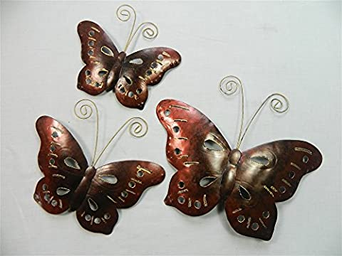Butterfly Wall Art - Metal Butterflies, Butterfly - Copper Bronze - Set of 3