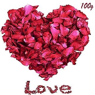 LIZHIGE Pétalos de Rosa,100 Gramos petalos de Rosa Artificiales pétalos de Rosa Natural petalos de Rosa para Bodas para Boda Confeti De La Decoración o baño de pies, Flores Manualidades o popurrí