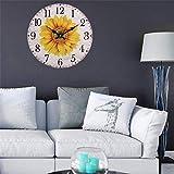 Moderne Horloge de Minuteur de maison tournesol, style de chiffres arabes rétro coloré, horloge murale en bois de quartz non-incisif et silencieux, grande Minuteur murale for la cuisine, le salon, la...